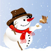 Happy snowman — Stock Vector