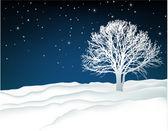 Winter lonely tree — Vector de stock