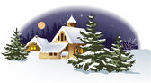 Christmas winter town — Stock Vector