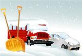 Cars after snowfall — Stock Vector