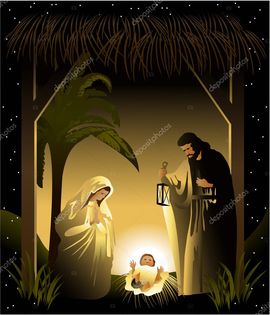Nativity scene with holy family — Stock Vector #6770666