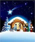 Christmas nativity scene — Stock Vector