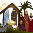 Stock Vector: Christmas nativity scene