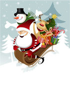 Santa Claus with friends — Vector de stock