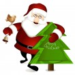 Royalty-Free Stock Imagem Vetorial: Santa Claus with Christmas tree