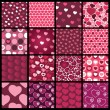 Royalty-Free Stock Vector Image: A set of 16 heart vector patterns for Valentines day