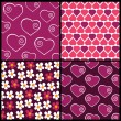 A set of 4 vector patterns for Valentines day — Stock Vector