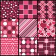 A set of 9 vector patterns for Valentines day — Stock Vector #7299132