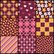 A set of 9 vector patterns for Valentines day — Stock Vector #7299142