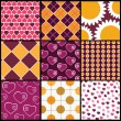 A set of 9 vector patterns for Valentines day — Stock Vector