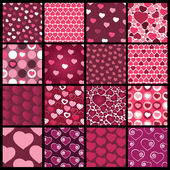 A set of 16 heart vector patterns for Valentines day — Stock Vector