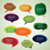 Collection of Colorful Speech And Thought Bubbles Background Vector — Stock Vector