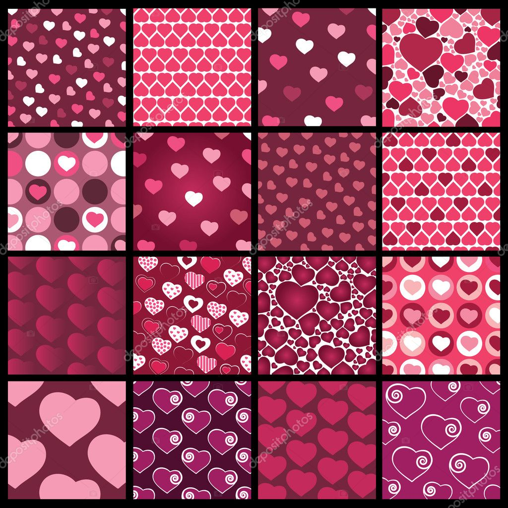 Set of sixteen abstract pink and purple heart vector patterns for Valentines day — Stock Vector #7299014