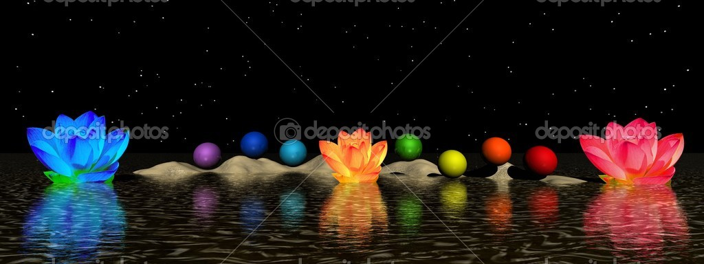 Chakra and water lily — Stock Photo #7698390