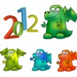 Year of Dragon (Cartoon vector Dragon) - Stock Photo