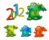 Year of Dragon (Cartoon vector Dragon) — Stock Photo