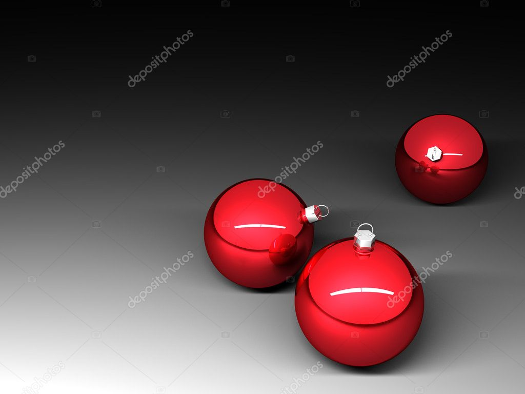 Three red christmas balls on dark background — Stok fotoğraf #7283245