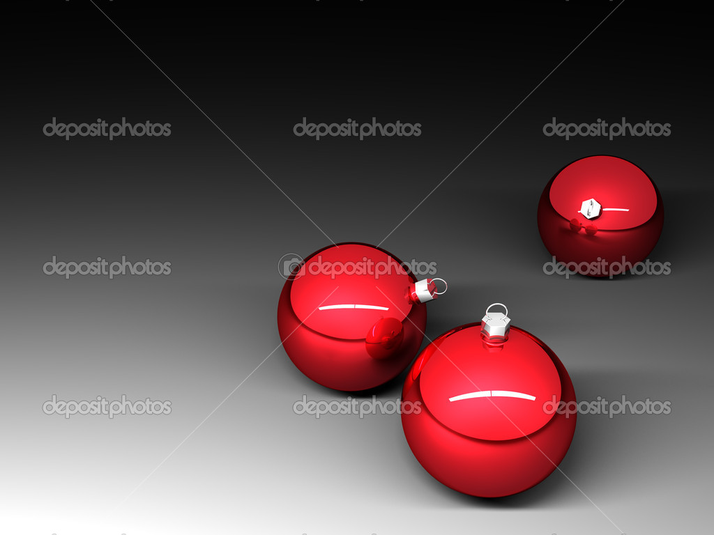 Three red christmas balls on dark background — Stock Photo #7283245