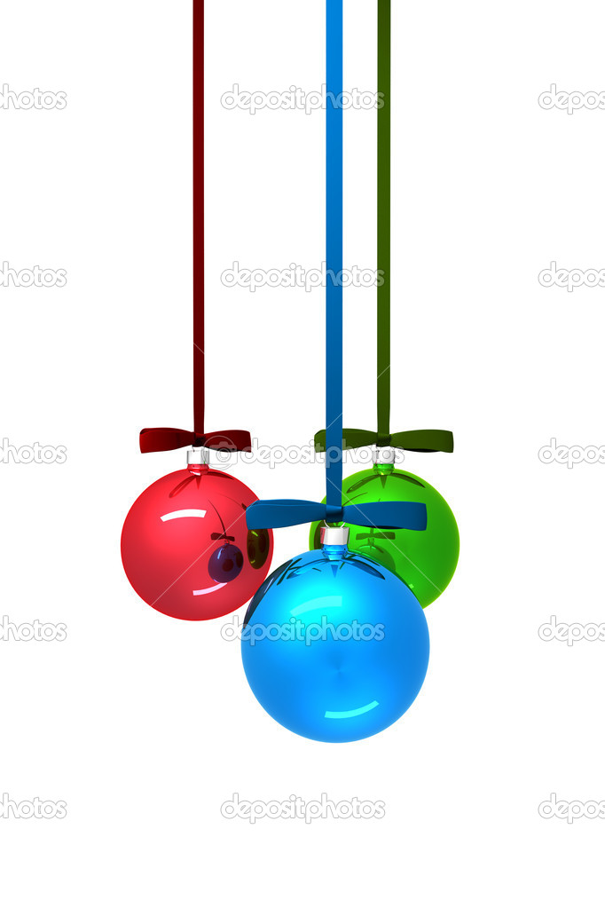 Three color christmas balls on white background — Zdjęcie stockowe #7318584