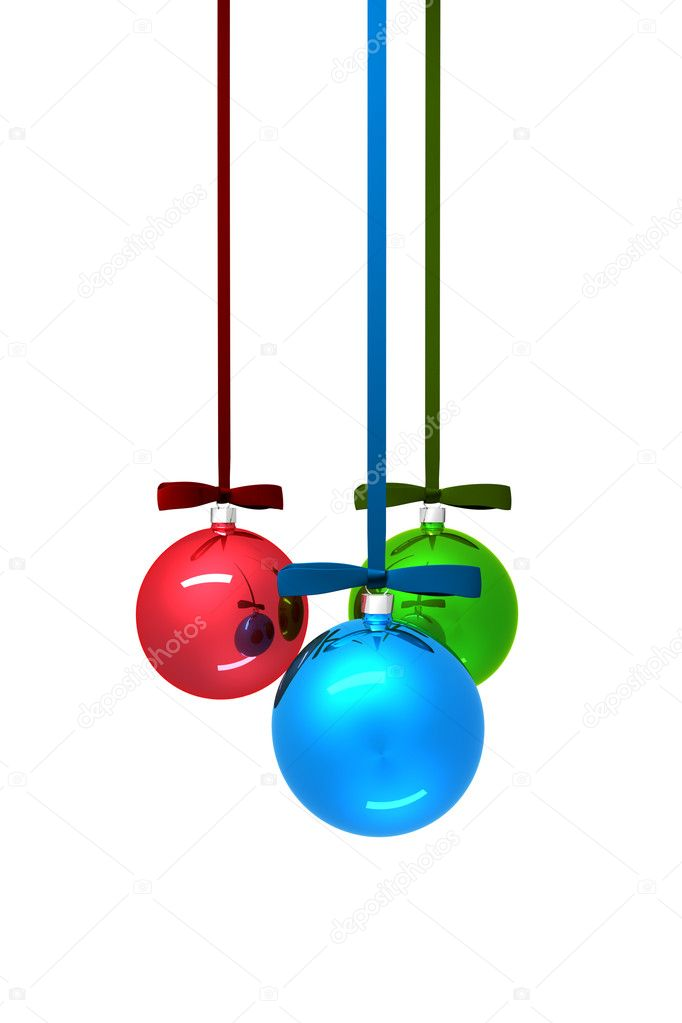 Three color christmas balls on white background — Stock fotografie #7318584