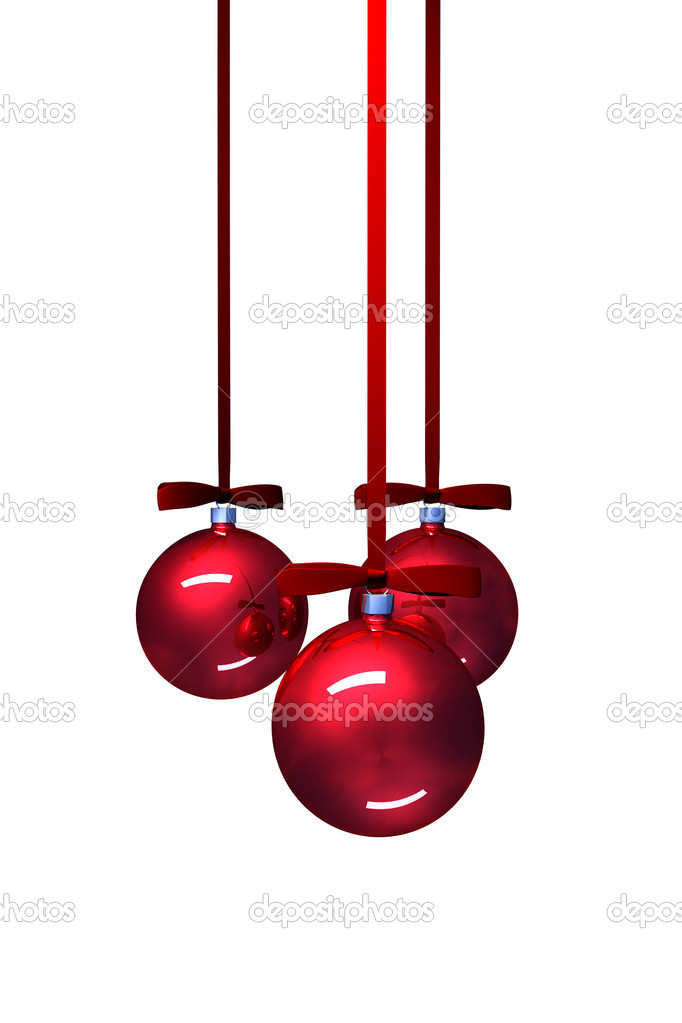 Three red christmas balls on white background — Stockfoto #7318588