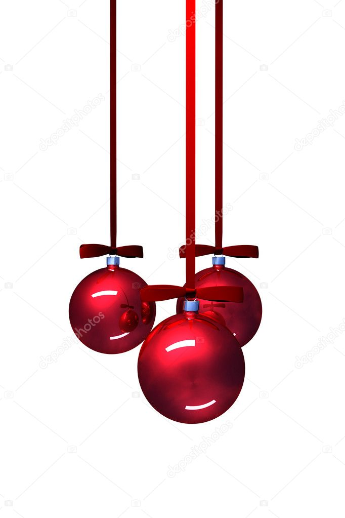 Three red christmas balls on white background — Zdjęcie stockowe #7318588