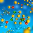 Molecule isolated on blue - Stock Photo