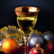 Stock Photo: Wine in glasses on dark background