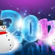 Stock Photo: New Year Eve 2012 (Happy snowman)