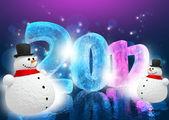 New Year Eve 2012 (Happy snowman) — Stok fotoğraf