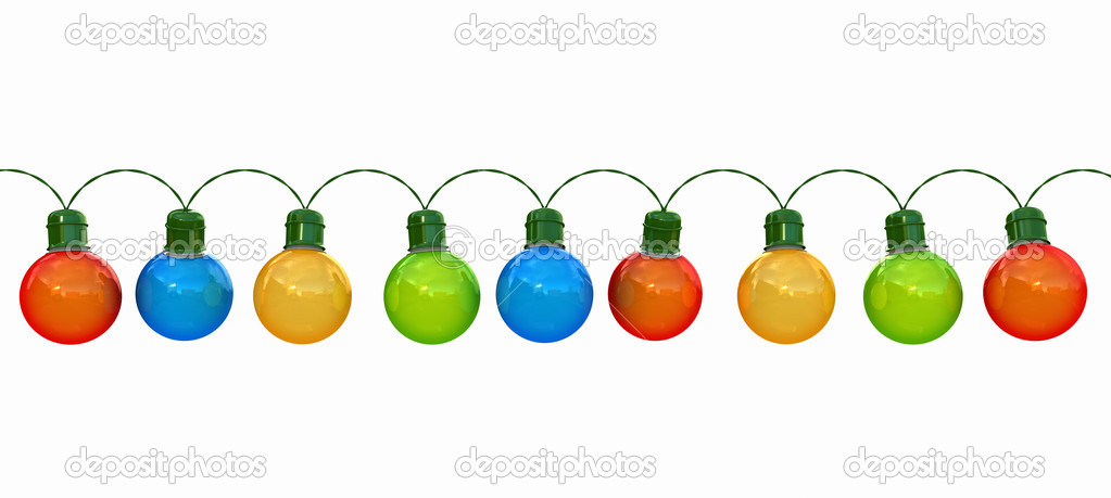 Shorten String Christmas Lights : Seamless string of Christmas lights isolated on white ? Stock Photo ? digiart #7539830