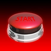 Red button on white background — Stock Photo