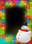 Frame of Christmas lights & snowman — Stock Photo