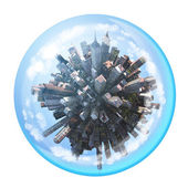Miniature city inside in glass sphere — Stock Photo