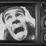 Ужас человек на экране — Стоковое фото