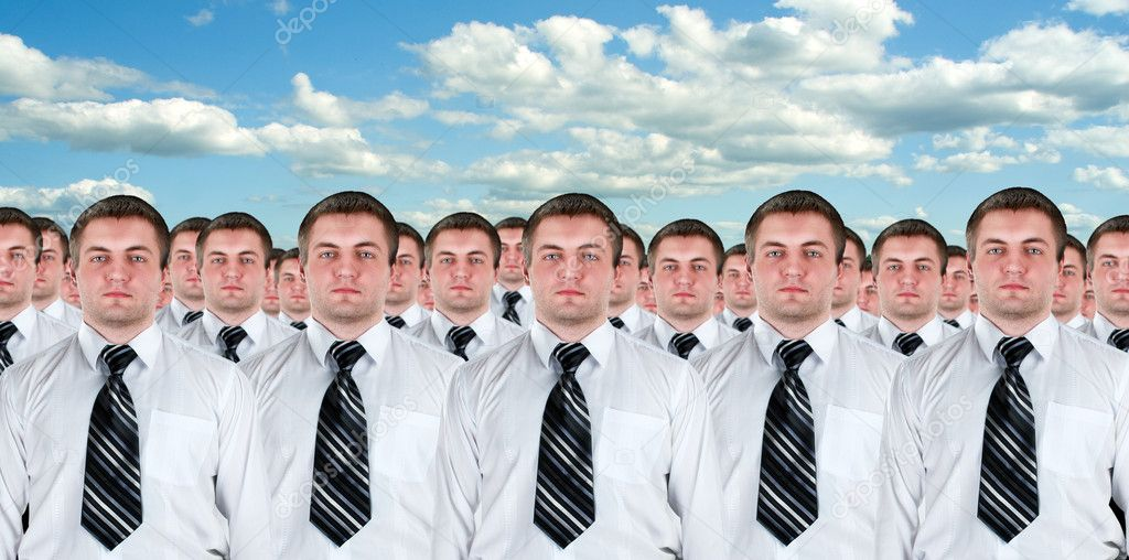 Many identical businessmen clones. Businessman production concept  Stock Photo #6840754