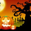 Halloween pumpkins in scary forest — Stock Photo #6922818