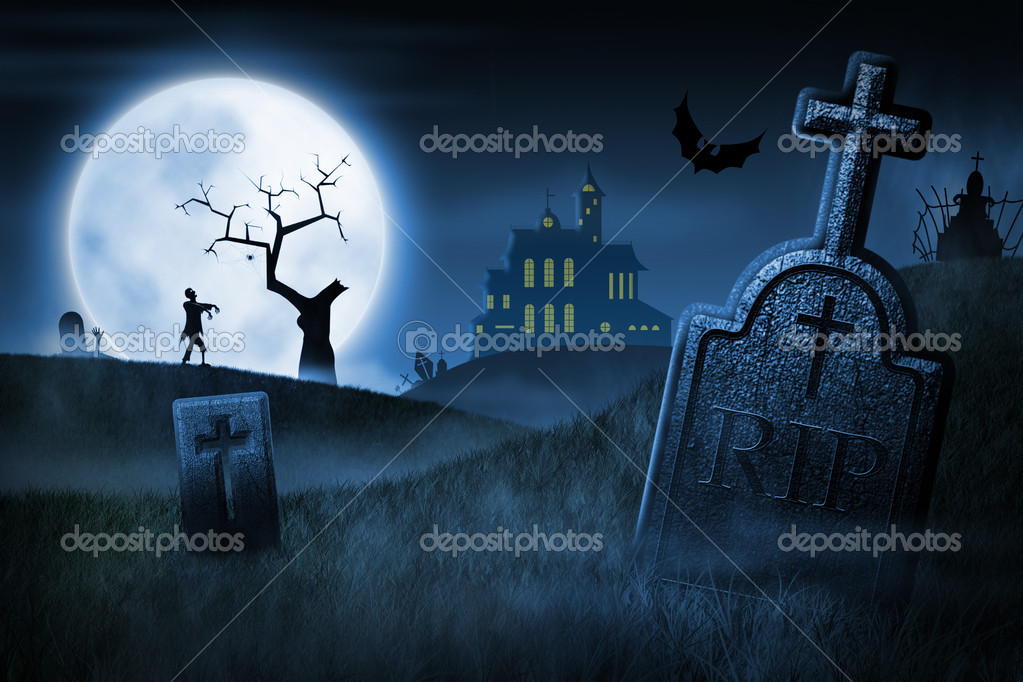 Spooky Halloween night. Foggy cemetery and haunted house on background  Stock Photo #6922826