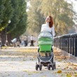 Stock Photo: Happy young mother with baby in buggy