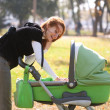 Young mother carrying baby in autumn park — Stock Photo #7226846