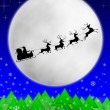 Santa and his reindeers riding against moon — Stock Photo
