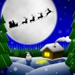 Santa and his reindeers riding against moon — Stock Photo #7226866