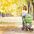 Happy young mother with baby in buggy — Stock Photo #7226869