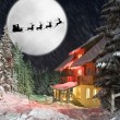 Santa and his reindeers riding against moon — Stock Photo #7226891