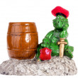 Statuette of funny dragon with barrel — Stock Photo