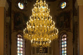 Chandelier in christian church — Stock Photo
