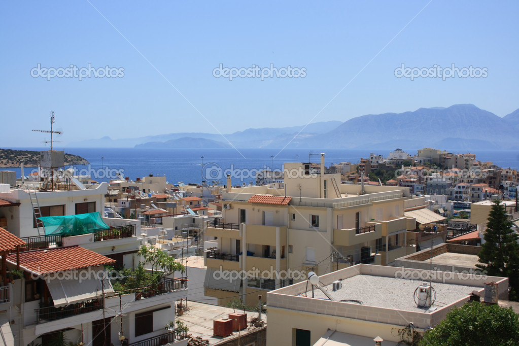Panorama of coast in Agios Nikolaos town, Crete, Greece — Stock Photo #6836351