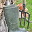 Boots of a gardener — Stock Photo