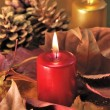 Stock Photo: Candles red and gold Christmas decorations