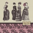 Elegant vintage ladies - Imagens vectoriais em stock